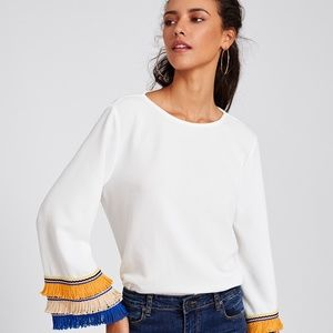 Tops - 2 Colorful Fringe/Yarn Bell Sleeve Top